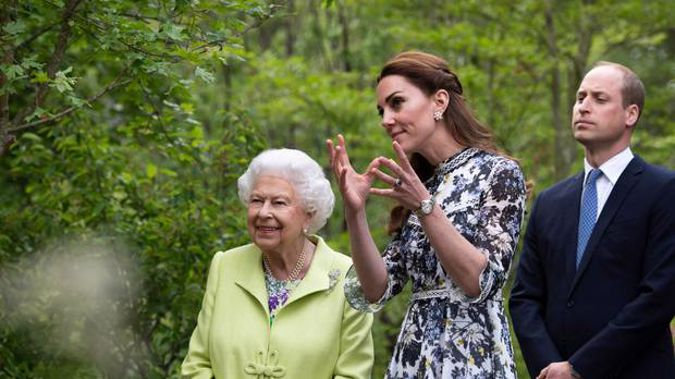 The Queen, Kate and William at the Chelsea Flower Show. Photo / AP