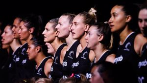 Silver Ferns players lined up for the national anthem. (Photo / Photosport)