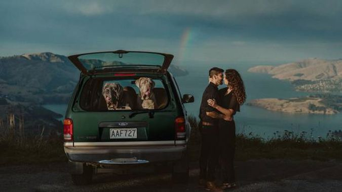 Beth Howarth's engagement shot was taken in the Port Hills, and features a local couple. (Photo / Beth Howarth)