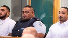 Mesiu Tufui, far left, and Fisilau Tapaevalu, far right, are accused of murder and attempted murder. (Photo / Jason Oxenham)