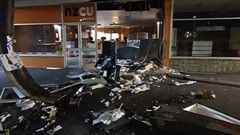 Debris covers the scene where an ATM was ripped from the wall in Murupara. (Photo / Supplied)