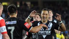 Shaun Johnson and Benji Marshall have played one international together, in the 2012 Anzac test at Eden Park. (Photo / Photosport)