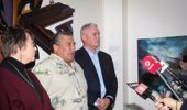 Minister for Children Tracey Martin, local iwi chairman Ngahiwi Tomoana and Minister of Corrections Kelvin Davis announce details of the inquiry. (Photo / NZ Herald)