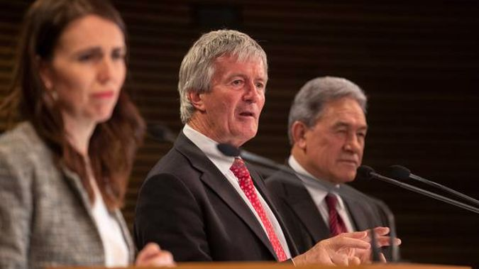 Agriculture Minister Damien O'Connor, flanked by PM Jacinda Ardern and Deputy PM Winston Peters, during the post-Cabinet press conference at Parliament. (Photo / Mark Mitchell)