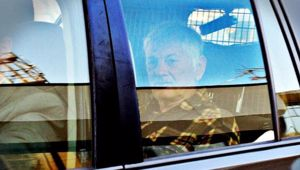 John Spencer White en-route to Victoria after an earlier court hearing.