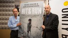 Authors Nicky Hager, left, and Jon Stephenson during the launch of their book, Hit & Run.