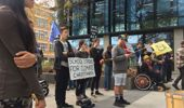 Protesters gathered outside Environment Canterbury when they were debating the climate change emergency. (Photo / ZB)