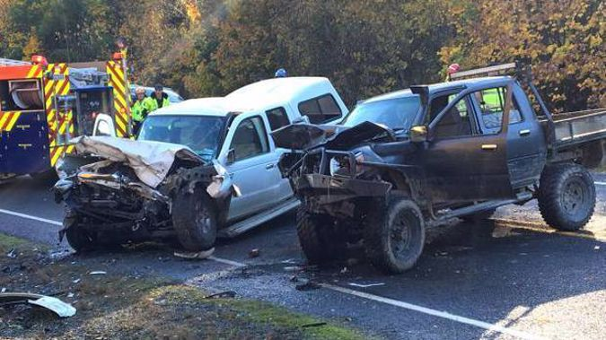 Two vehicles were written off and all three people involved in a crash on State Highway 8 last year were hospitalised (Image / NZH)
