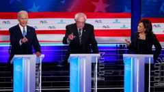 Democratic presidential candidate Joe Biden, left, Sen. Bernie Sanders, I-Vt., and Sen. Kamala Harris, D-Calif., all talk at the same time during the Democratic primary debate. Photo / AP