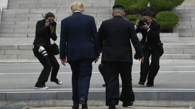 Donald Trump crossed over into North Korean territory yesterday. (Photo / AP)
