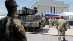 US military personnel prepare for the planned parade. (Photo / CNN)
