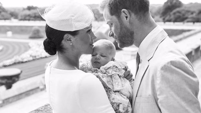 Prince Harry and Meghan, the Duchess of Sussex with their son Archie Harrison Mountbatten-Windsor at the christening. Photo / Sussex Royal