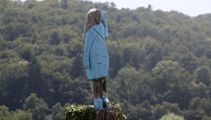 Life-size sculpture of Melania Trump in hometown divides opinion