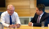 Aussie Prime Minister Scott Morrison, left, met with National Leader Simon Bridges today in Sydney. Photo / Supplied