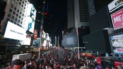 The iconic Times Square went dark due to the power outage. (Photo / AP)