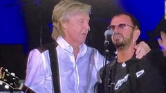 The two Beatles members reunited for the first time in five years. (Photo / CNN)
