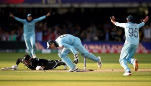 England celebrate winning the Cricket World Cup as Black Caps batsman Martin Guptill is run out going for what would have been the winning run. Photo / Getty Images