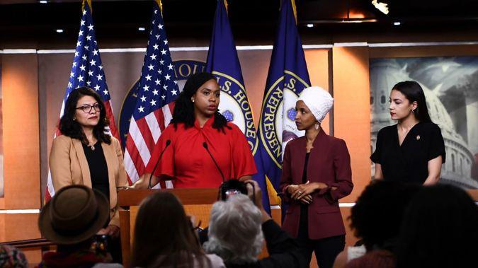 Reps. Ilhan Omar (D-MN), Alexandria Ocasio-Cortez (D-N.Y.), Ayanna Pressley (D-MA), and Rashida Tlaib (D-MI). Photo / Getty Images