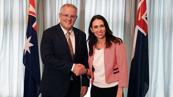 Australian Prime Minister Scott Morrison with Prime Minister Jacinda Ardern. Photo / AP