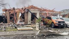 The remains of a Christchurch house which was the scene of a gas explosion this morning. Photo / James Looyer