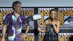 Taika Waititi and Natalie Portman speak at the Marvel Studios Panel during 2019 Comic-Con International in San Diego. (Photo / Getty)