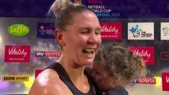 Little Maia Kopua steals the show after her mum wins the world netball title. (Video / Sky Sport)