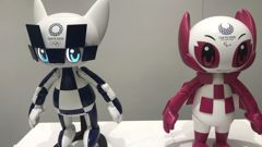 "Robots of mascots of Olympics ""Miraitowa,"" left, and Paralympics ""Someity"" are shown to the media at Toyota Motor Corp. (Photo / AP)"