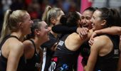 Silver Ferns players celebrate after winning the Netball World Cup final match between Australia and New Zealand. Photo / AP