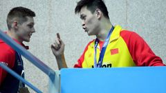 Sun Yang, right, is under fire. (Photo / Getty)