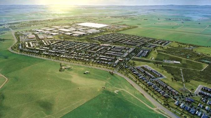The 176ha site, 5km north of Huntly, would include 1100 new homes over the next 10 years, while boosting manufacturing space from 30,000sqm to 100,000sqm. (Image / Supplied)