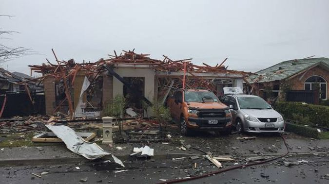 The scene of a gas explosion that levelled a house in Christchurch's Marble Court. (Photo / NZ Herald)