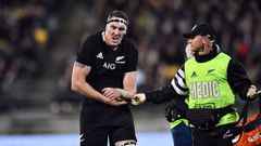 Brodie Retallick of the All Blacks suffers a dislocated shoulder during the 2019 Rugby Championship Test Match between New Zealand and South Africa. (Photo / NZ Herald)