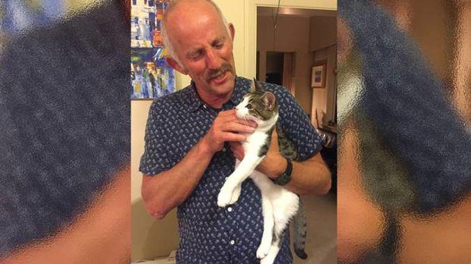 The human Gareth Morgan with the cat Gareth Morgan. Photo / Supplied