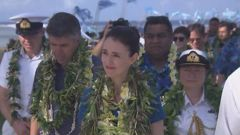 Jacinda Ardern, accompanied for her father Ross, left, is the the first NZ prime minister to visit Tokelau in 15 years.