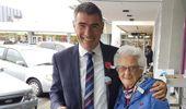 Otaki MP Nathan Guy with Paraparaumu resident Pat Cullum. (Photo / David Haxton)