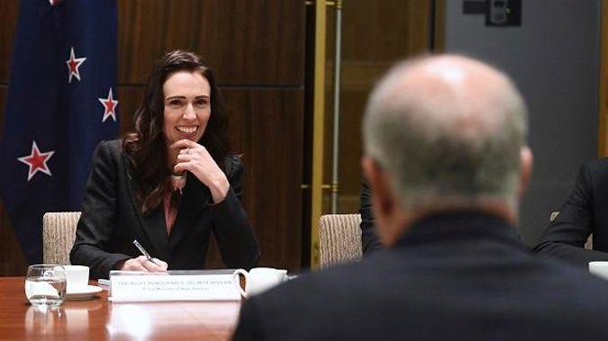 New Zealand's Prime Minister Jacinda Ardern talks with Australian Prime Minister Scott Morrison. Photo / AP