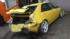 One of the cars damaged in the road roller attack. (Photo / Supplied)