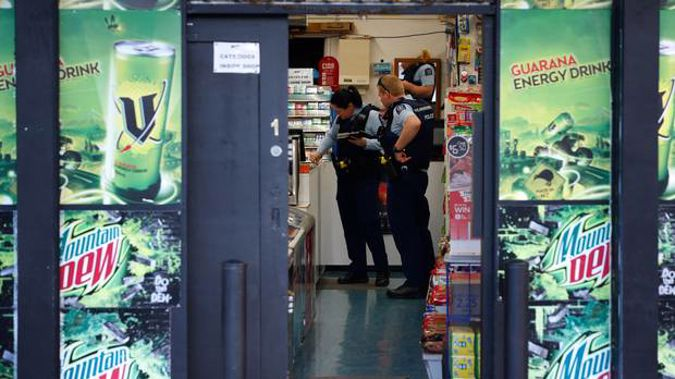 Police at Ye Korner Dairy on Crawford Cr in Kamo was the third business thought to be robbed. (Photo/ Michael Cunningham)