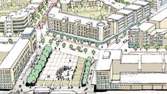 Indicative plans for a new town centre at Drury. (Drawing / Auckland Council)