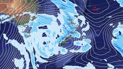 The storm as forecasted brewing in the southern Tasman Ocean at noon on Sunday. (Image / weatherwatch.co.nz)