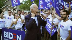 Former Vice President and Democratic presidential candidate Joe Biden meets with supporters in Iowa. (Photo / AP)