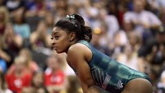 Simone Biles has become the first gymnast to perform a double-double dismount. (Photo / AP)