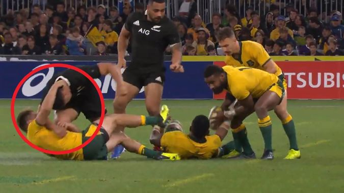 The Wallabies did not get called out over their neck roll tactic. (Photo / Sky Sport)