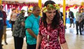 Prime Minister Jacinda Ardern arrives at Funafuti Airport for the Pacific Islands Forum in Tuvali. (Photo / NZME)