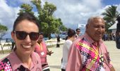 PM Jacinda Ardern and Fijian PM Frank Bainimarara make their way to PIF leaders' meeting. (Photo / Jason Walls)