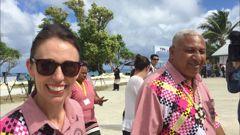 PM Jacinda Ardern and Fijian PM Frank Bainimarara make their way to PIF leaders' meeting. (Photo / Jason Walls)