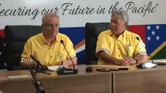Australia PM Scott Morrison and Tuvalu PM Enele Sopoaga after the leaders' retreat. (Photo / Jason Walls)