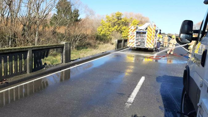 Rakaia Bridge where the tanker came off the road. (Photo / Newstalk ZB)