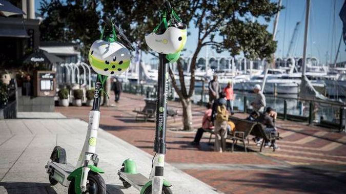The new Generation 3 Lime e-scooter side-by-side with the G2.5. (Photo / Michael Craig)