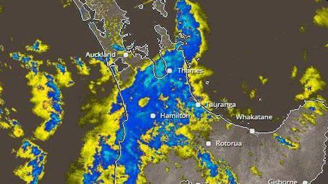 MetService's rain radar shows the storm impact over Auckland. Image / MetService